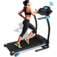 SereneLife Smart Digital Folding Treadmill - Electric Foldable Exercise Fitness Machine, Large Running Surface, 3 Incline Settings, 16 Preset Program, Downloadable Sports App for Running & Walking