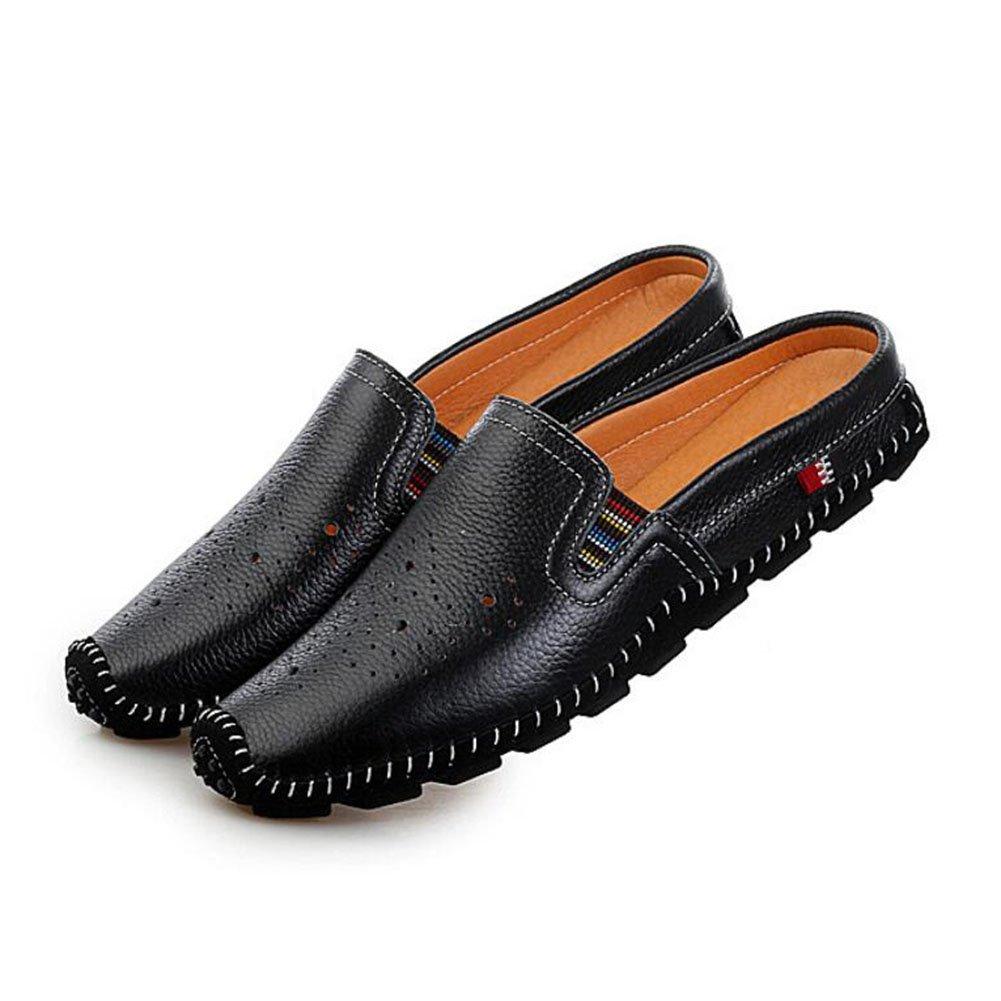 CAI Herrenschuhe 2018 Frühling, Sommer, Herbst Herrenschuhe Trend Faul Schuhe Herren Freizeitschuhe Leder halb Slipper Peas Schuhe Männer Sandaleen (Farbe : Schwarz, Größe : 42)