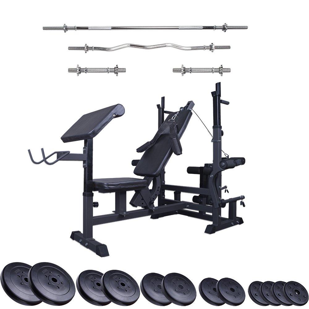 ScSPORTS Profi-Trainingsbank mit 80 kg Set