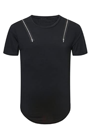 7abb3ae869b3ad Amazon.com  Nimpansa Men Casual Plain Big and Tall Zippers Fashion Short  Sleeve T Shirt Tee  Clothing