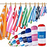 BOGI Microfiber Sports&Travel Towel-Pack of 2–Large:63''x31.5'' with Hand/Face Towel for Travel Bath Beach Swim Camping Gym Yoga,Dry Fast Absorbent Soft Lightweight-Pouch+Carabiner(L:Green)
