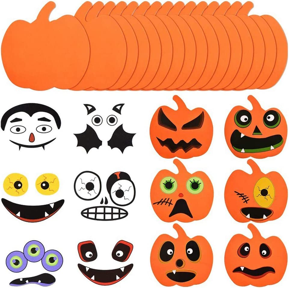 Halloween Pumpkin Decorations 16 Packs Pumpkin Decorating Foam and Stickers Kids DIY Halloween Arts with Self-Adhesive Pumpkin Stickers for Pumpkins and Squashes