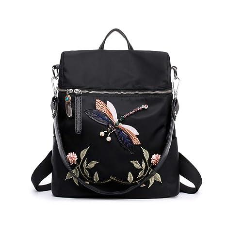 Xiuy Fashion Bordado Backpack Elegante Mochilas Escolares Diario Mochilas Tipo Casual Viajes Impermeable Mochilas Salvaje Grandes