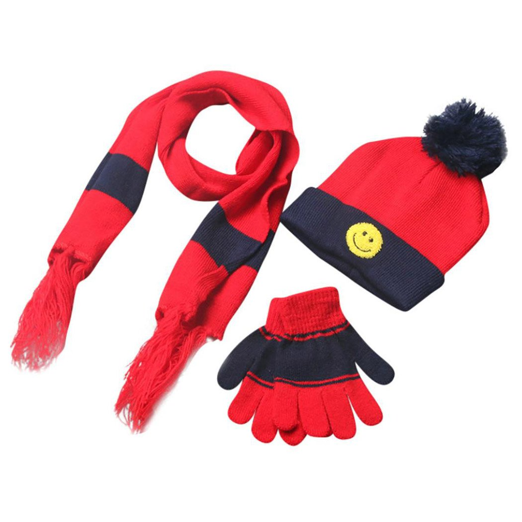 Kid Scarf Warm Scarves Fuibo 3 Sets Winter Boys Girls Smile Scarf Neck Keep Warm Scarves Hat Gloves Christmas Gift for Kids Neckerchief
