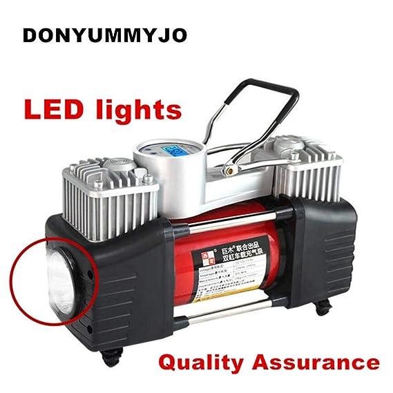 GEGEQUNAERYA Luces LED preselección de presión Digital 12v compresor de Aire inflador de neumáticos de Coche Cilindro Doble inflador de neumáticos de Metal ...