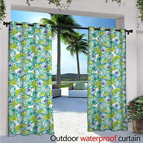 Turquoise Outdoor Privacy Curtain for Pergola W72 x L84 Blooming Flower Figures Watercolor Pastel Paint Bouquet Herbs Summer Theme Print Thermal Insulated Water Repellent Drape for Balcony Green ()