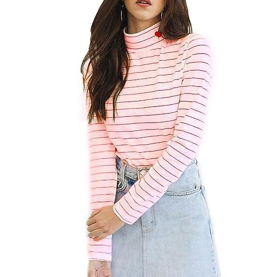 Koly Moda Mujer Otoño Camiseta de Manga Larga Top de Cuello Alto Ocasional de la Blusa