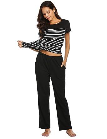 dba24287a6 EkouaerWomen s Sleepwear Set Stripe T-Shirt with Long Sleeve Pants Pajamas  PJ Sleep Set(