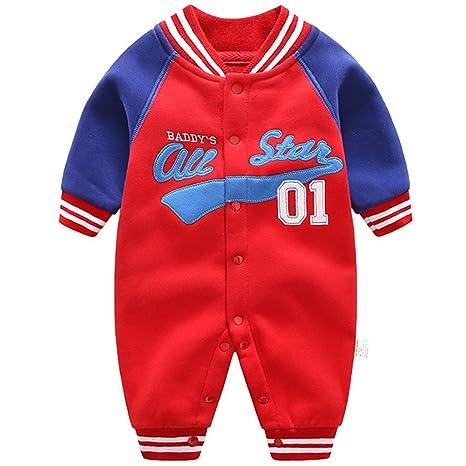 Bebé Pelele de Algodón Mameluco Béisbol Trajes Niños Niñas Ropa de Invierno Primavera Otoño 0-