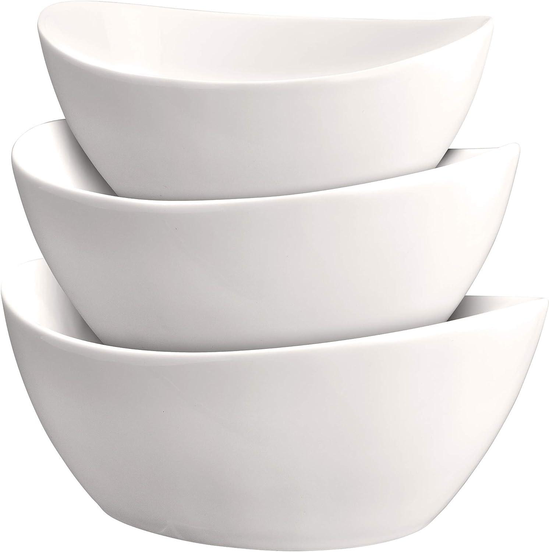 3 Piece Serving Bowl Set Elegant White Porcelain Salad Bowls For Fruit Salad Pasta And Soup Food Server Display Dishes For Party Or Display 24 Oz 34
