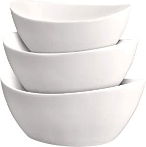 3 Piece Serving Bowl Set – Elegant White Porcelain Salad Bowls for Fruit, Salad, Pasta and Soup - Food Server Display Dishes for Party or Display - 24 oz. 34 oz. and 44 oz. - by DécorDine