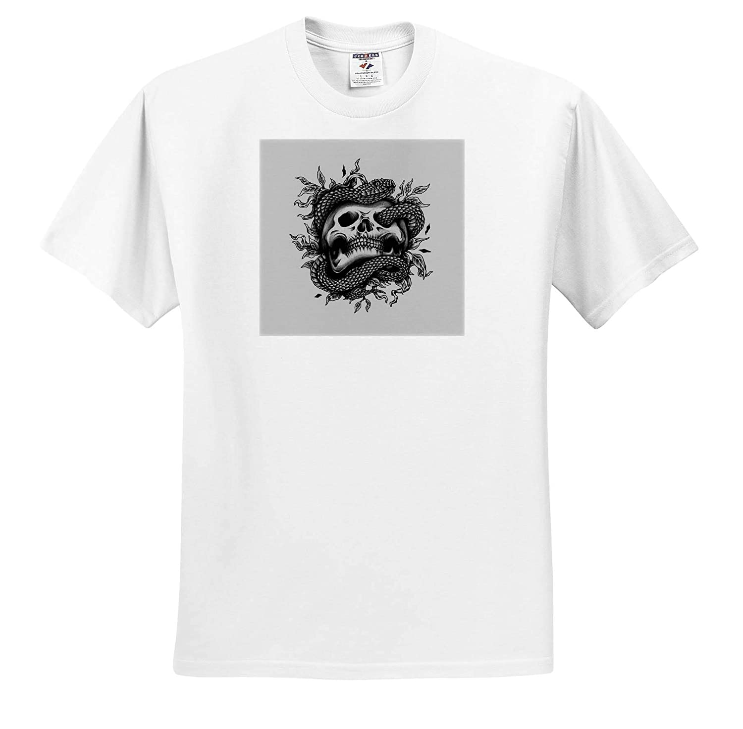 T-Shirts 3dRose Alexis Design Black and White Image of a Snake Around a Skull Skull