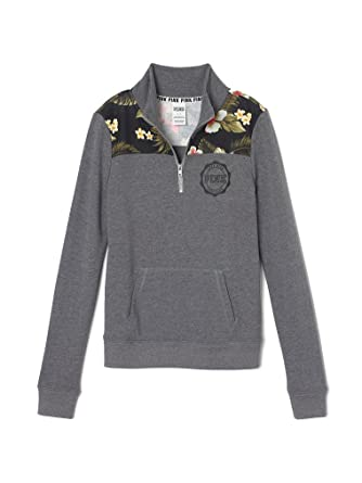 Victoria s Secret Pink Perfect Quarter Zip Sweatshirt Small Gray Flower 0c80d8e566