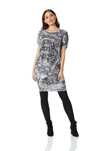 ca61817aa7e7 ... Women Snake Print Slouch Dress - Ladies Smart Casual Daywear Day Outfit  Work Office Short Sleeve Knee Length Soft Jersey Dresses: Amazon.co.uk:  Clothing