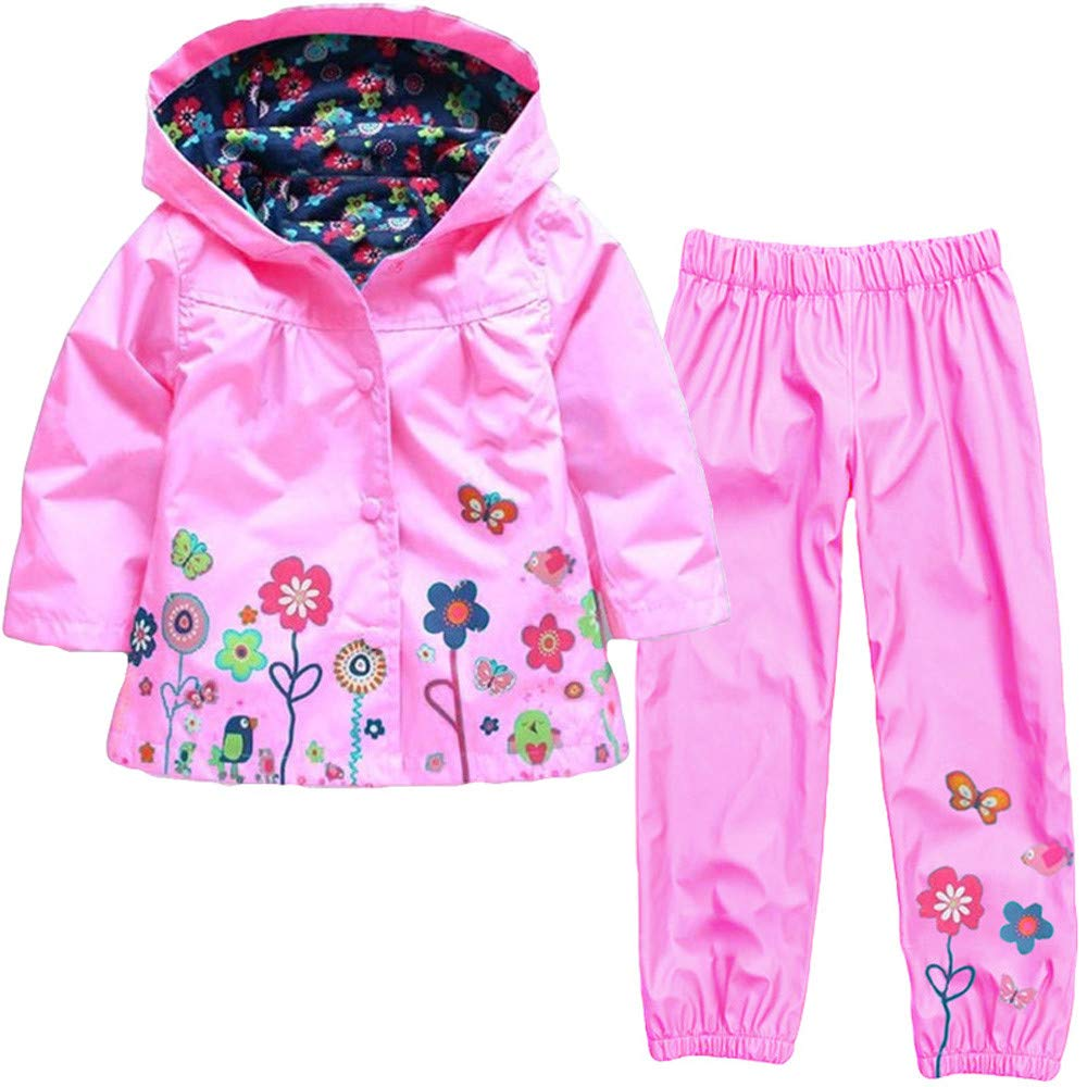 Pantaloni per Bambina Luoluoluo Bambina Abbigliamento,Completini Bimba,Bambina Impermeabile Ragazza Pioggia Giacca Stampare Cappotto con Cappuccio
