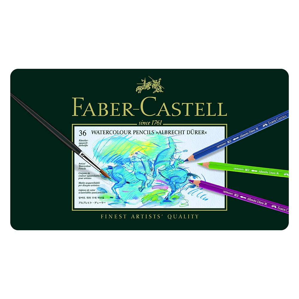 Faber-Castel FC117536 Albrecht Durer Artist Watercolor Pencils In A Metal Tin (36 Pack), Assorted