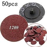CynKen 50 pcs 2 Inch 120Grit Roloc R Type Roll Lock Sanding Abrasive Disc Cookie