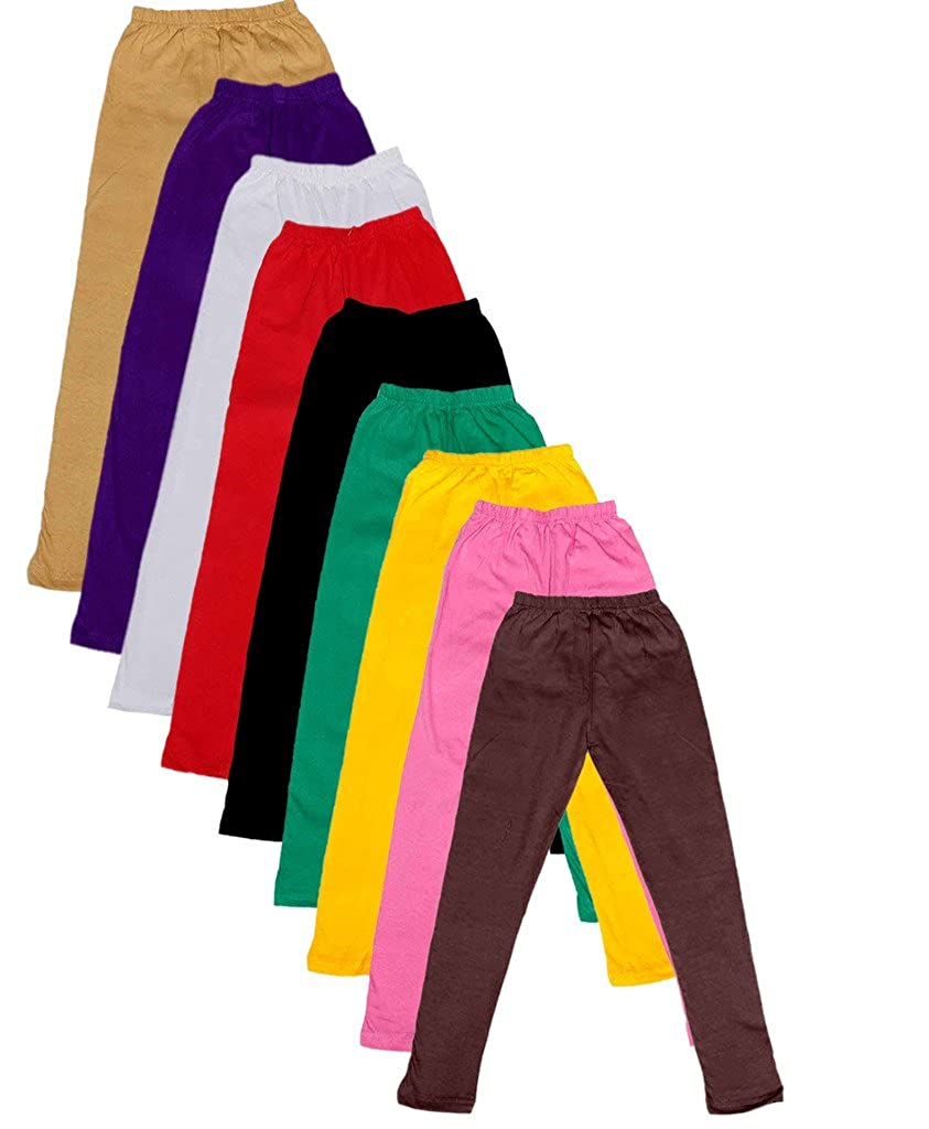 Pack of 9 -Multiple Colors-3-5 Years Indistar Little Girls Cotton Full Ankle Length Solid Leggings