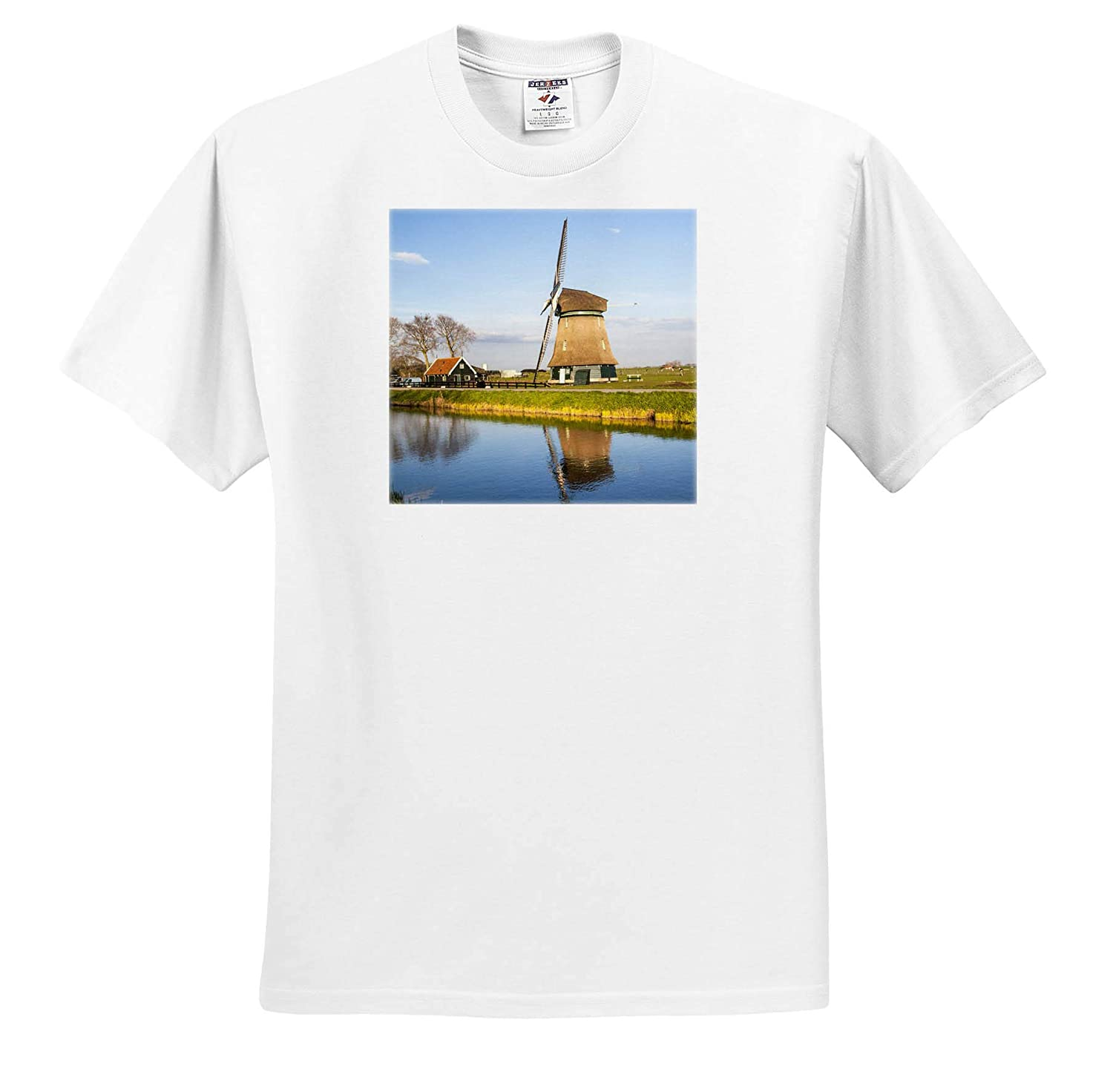 Netherlands ts/_313773 Netherlands Windmill on a Canal 3dRose Danita Delimont Lisse Adult T-Shirt XL