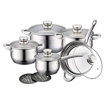 Royalty Line RL-1232 Set bateria de cocina ollas, sartenes de acero inoxidable 12 piezas: Amazon.es: Hogar