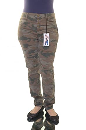 810a13b14fd745 Tinseltown Juniors' Camo-Print Button-Closure Skinny Jeans 7 at ...