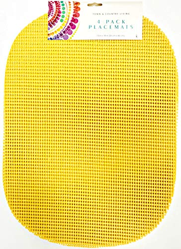 T & C Colorful Waffle Mesh | Set Of 4 | Place Mats | 18 inches x 13 inches | Easy Clean (Sunny ()
