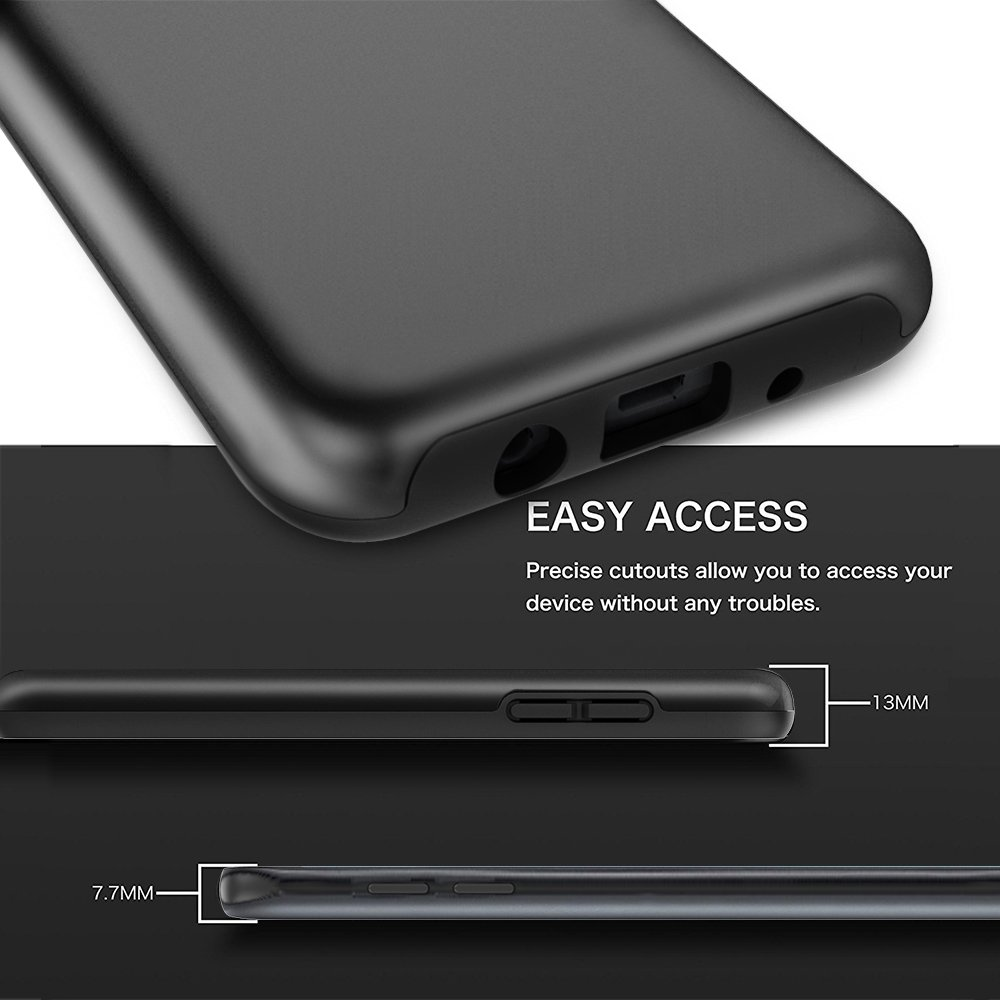 Samsung Galaxy J7 Refine Case, Galaxy J7 2018/ J7 V 2nd Gen/J7 Star/Galaxy J7 Aero/J7 Top Case, Androgate Hybrid Shock Absorption Protective Case with TPU Full Coverage Screen Protector, Black