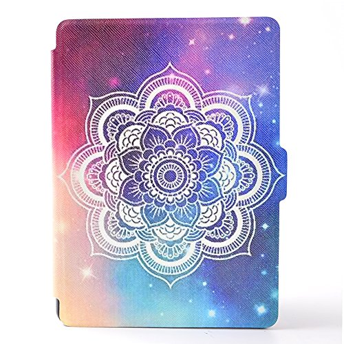 Kindle (8th Gen,2016 Release) Case, Dteck Slim Light Synthetic Leather Flip Folio Smart Stand Case Cover with [Auto Sleep Wake] Feature for Amazon Kindle E-reader-Shine Flower