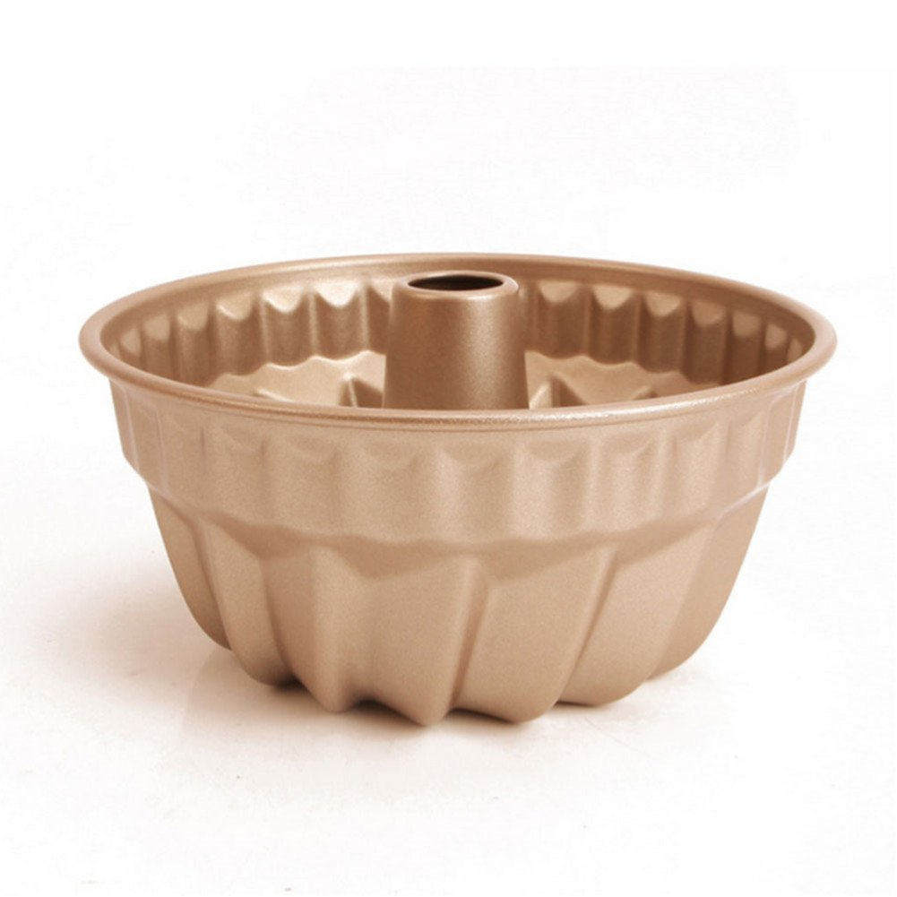 7 inch Nonstick Bundt Pan, Carbon Steel Kugehopf Mold, Easy to Use and Release, Champagne Color