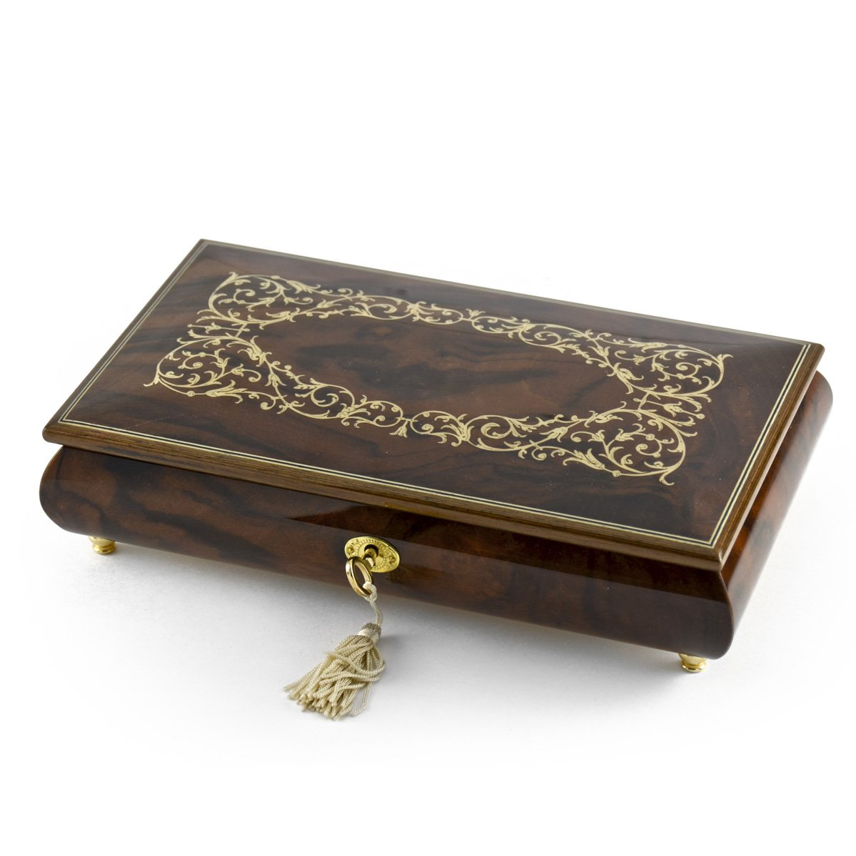 Extraordinary Handcrafted 30 Note Arabesque Inlay Musical Jewelry Box with Lock and Key - Love is Blue