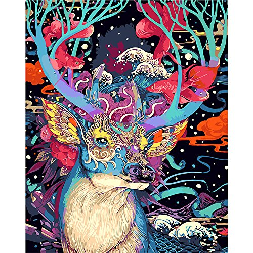 Tonzom Paint by Numbers Kits Diy Oil Painting for Kids, Students, Adults Beginner - Colorful Sika Deer 16 x 20 inch with Brushes and Acrylic Pigment