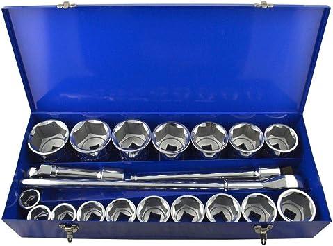 Juego de llaves de vaso y accesorios de DrillMan de 1 pulgada, 36 mm – 80 mm, 6 caras, 21 unidades: Amazon.es: Bricolaje y herramientas