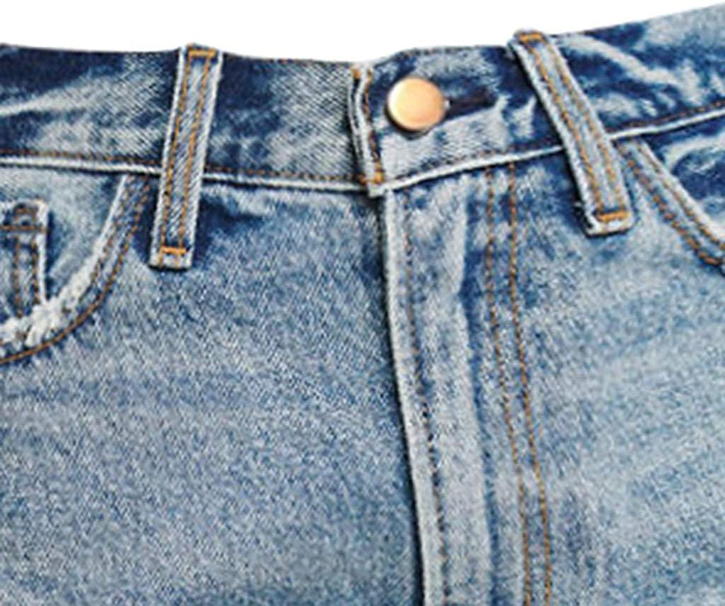 FRAUIT Pantaloncini Donna Estivi Vita Alta Jeans Shorts Ragazza Denim Vintage Strappati Pantaloni Donne Elasticizzati Curvy Push Up Mini Hot Pants Bermuda Pantalone Pantaloncino con Tasche