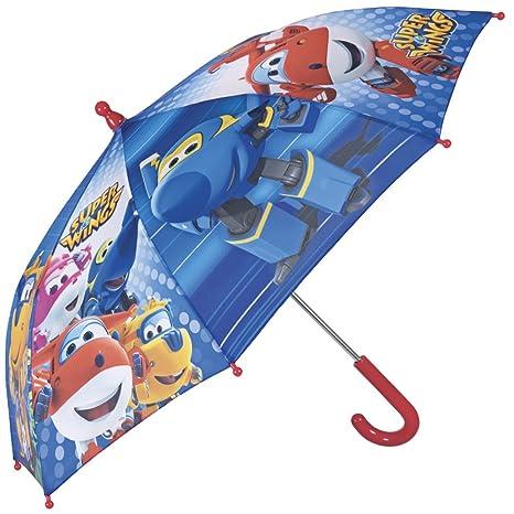 Paraguas Super Wings - Paraguas para niño, resistente, antiviento y largo - Seguro,