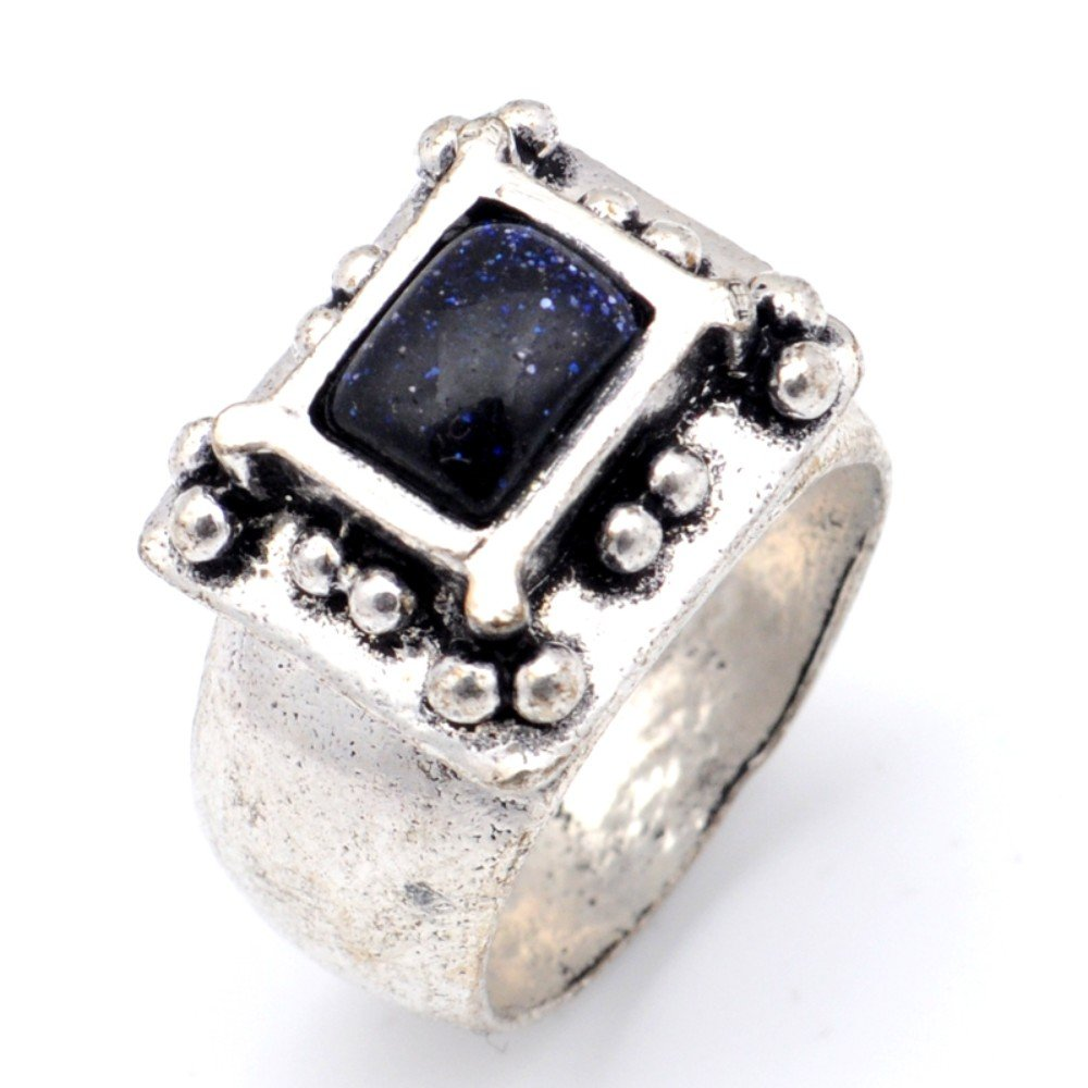 Ethnic Wear Handmade Jewelry Black Sunstone Oxidized Sterling Silver Overlay Ring Size 8.5 US