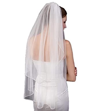 64bc0708f195 Wedding Accessory 2 Tier Veil White Ivory Custom Length Crystal Edge Short  Bridal Veil With Free Comb 2019 at Amazon Women s Clothing store
