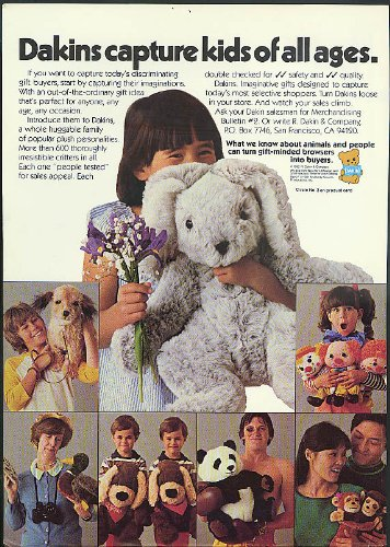Dakins capture kids of all ages ad 1982 stuffed animals panda dog monkey` from The Jumping Frog