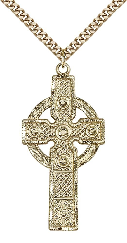 Stainless Steel Heavy Curb Chain. 14kt Gold Filled Cross Pendant with 24 Gold Plated