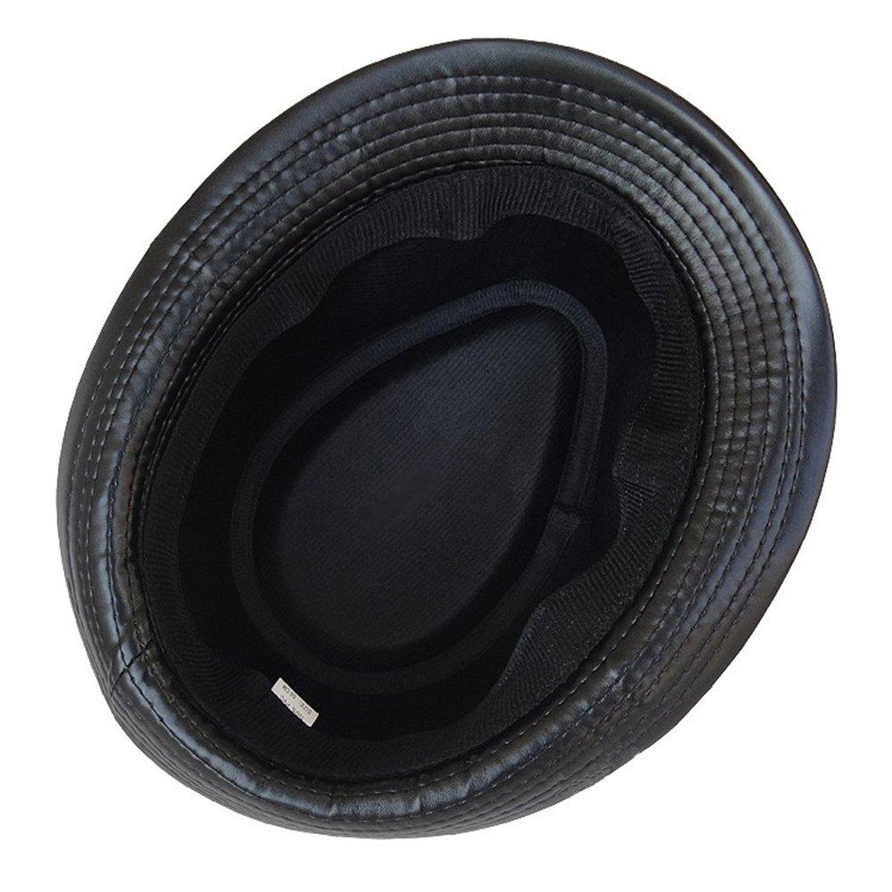 33d1185d861d9 Amazon.com  Summerwhisper Women s Men s Leather Fedora Trilby Hat Cap  Unisex Black  Clothing