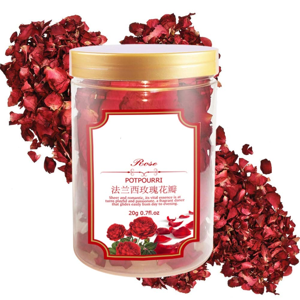 Ofanyia 20g Red Petal Roses Dried Rose Petals Real Rose Flower Petals for Body Foot Bath