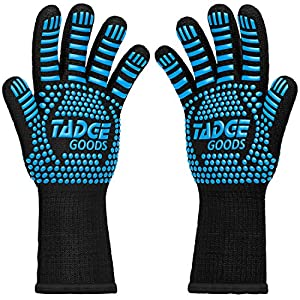 Oven Mitts Heat Resistant BBQ Gloves – Best Silicone Cooking & Grilling Accessories – Extreme Hot 932 Degrees Hand & Forearm Protection, Blue
