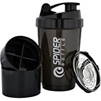 V A International Cyclone Protein Shaker Bottle for Gym with 2 Detachable Compartments for Unisex, 500 ml (Black)