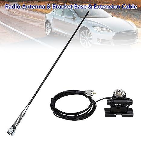 Coche antena de radio móvil transceptor móvil + soporte base Mount + RG58 cable de extensión 27 MHz PL259 macho conector: Amazon.es: Electrónica