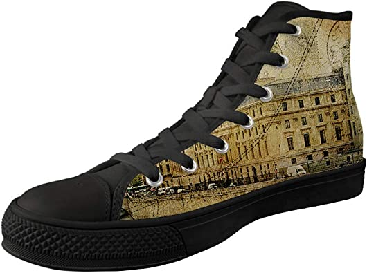 XFPACK Design High-Side Canvas Shoes 3D PrintedLovely Chimpanzees Patterned High-Side Black Bottom Canvas Shoes are Suitable for Womens Leisure