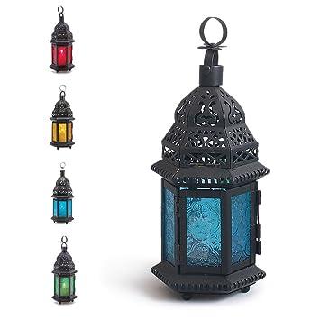Zlimio Glass Metal Hexagon Moroccan Delight Garden Candle Holder  Table/hanging Lantern /Candle Lantern