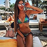 FimKaul Sequins Halter Bikini Set, Women Sexy Tie Side Swimsuit High Waist 2PCS Push-up Padded Swimwear (L, Green)