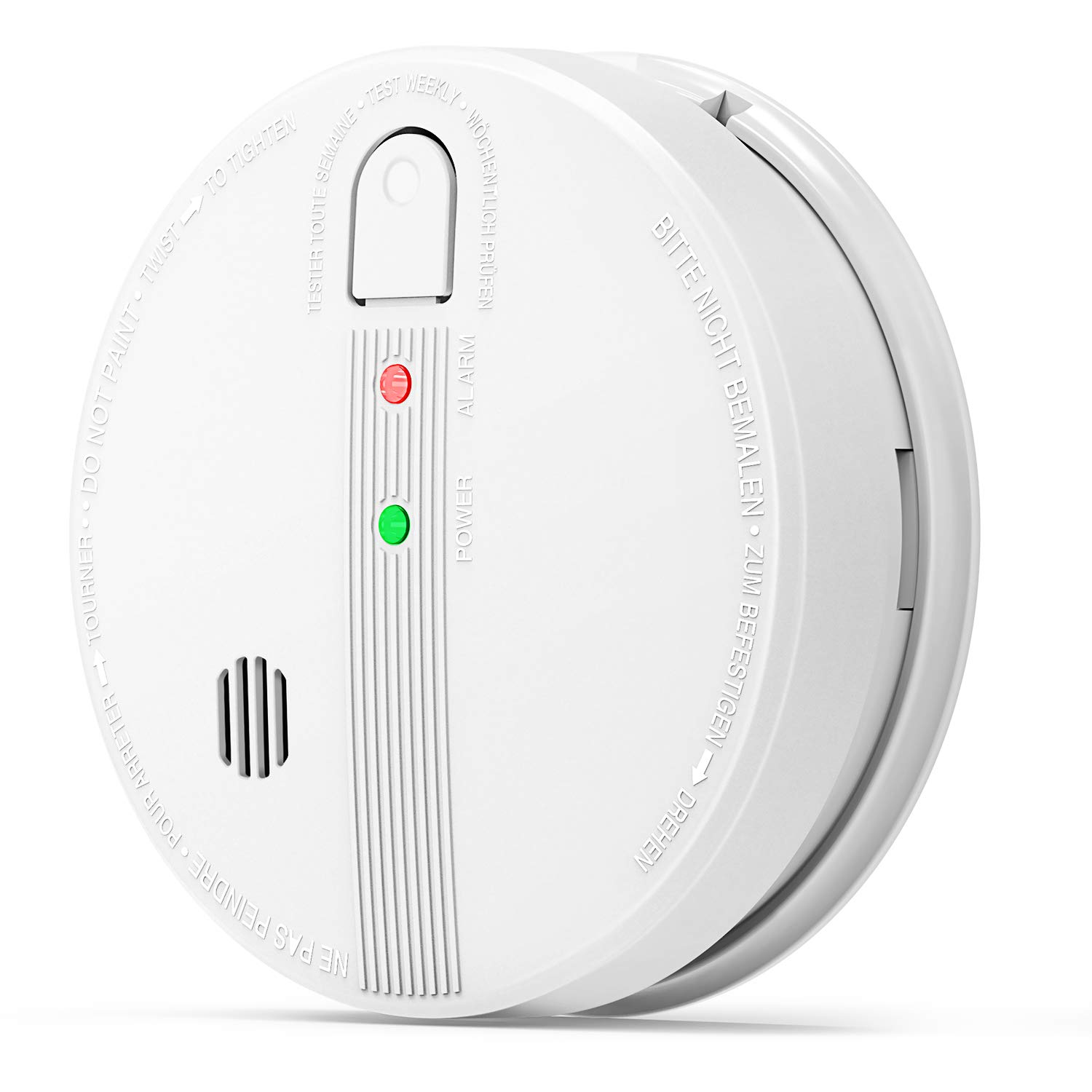 Smoke Detector, Photoelectric Sensor Smoke Alarm, 10 Years Safety Hardwired Fire Alarm with 9V Back up Battery, Red Flash Alarm and Green AC Power Indicator, Interconnect up to 12pcs
