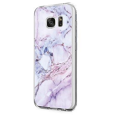 Beryerbi Funda Compatible with Galaxy S6/S7,Carcasa Galaxy S6/S7 Edge Funda Transparente Silicona TPU Cover Mármol Patrones Ultra Delgado Anti ...