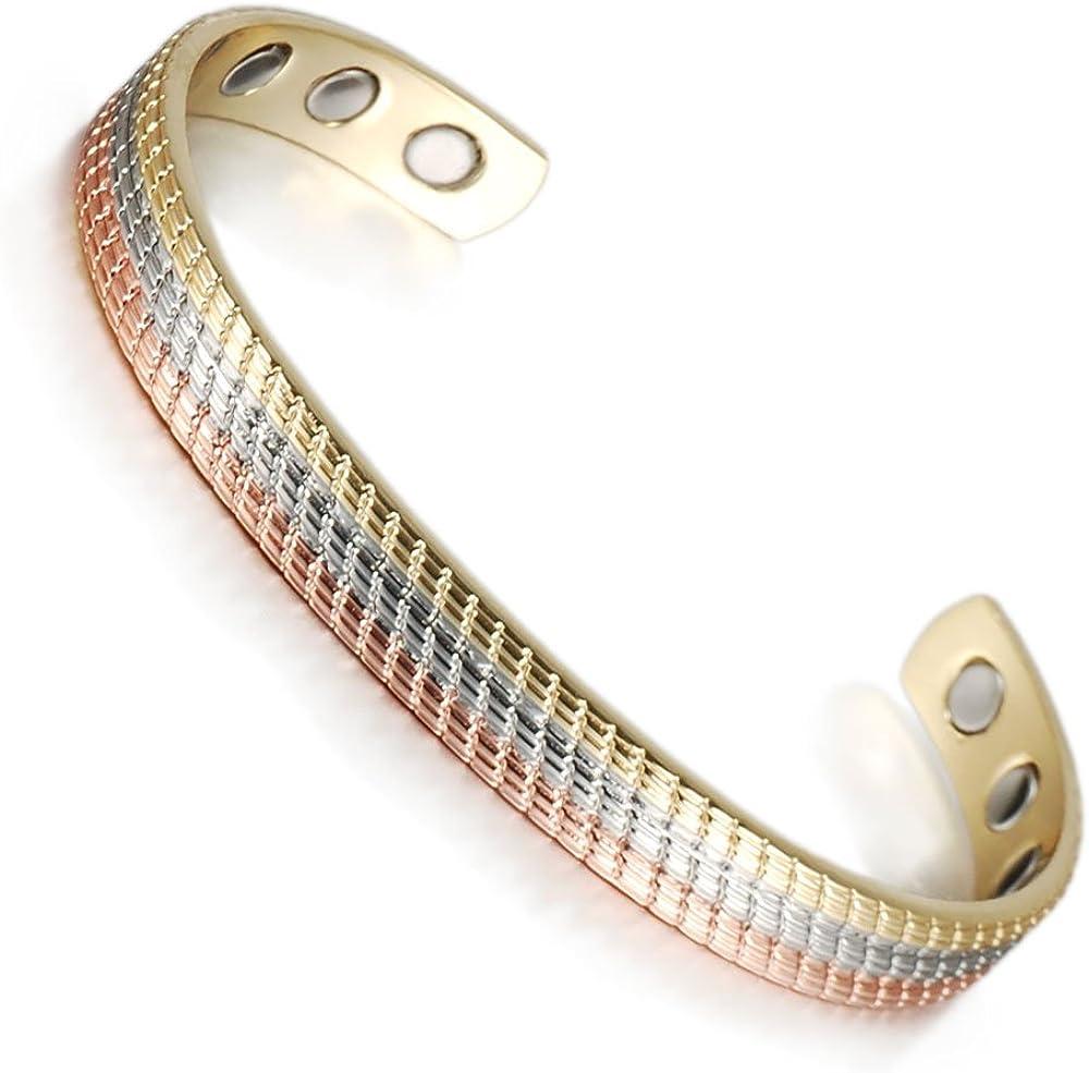 Wollet - Pulsera de cobre para mujer con terapia magnética para artritis (6 imanes), 16,51 cm