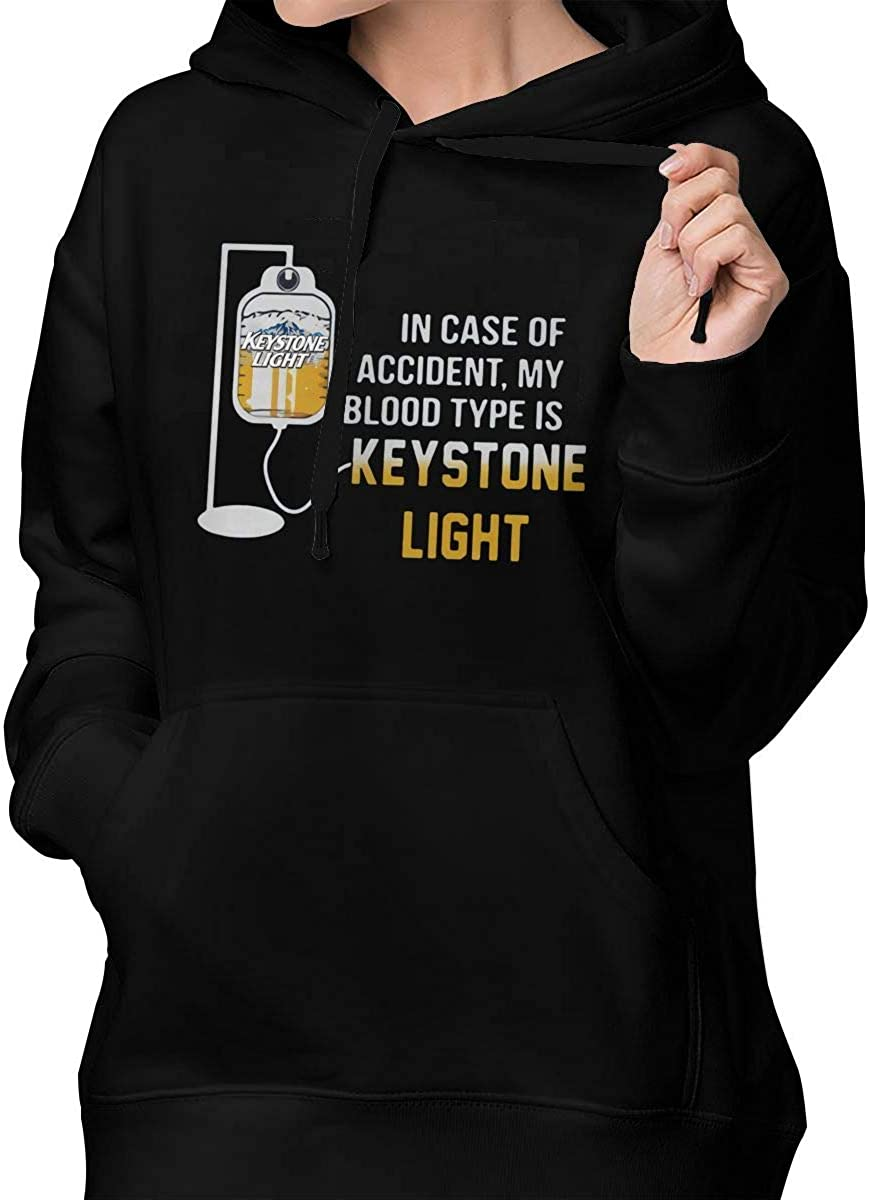 MichaelFrance Womens Comfort in Case of Accident My Blood Type is Keystone Light Drawstring Pocket Hoodies